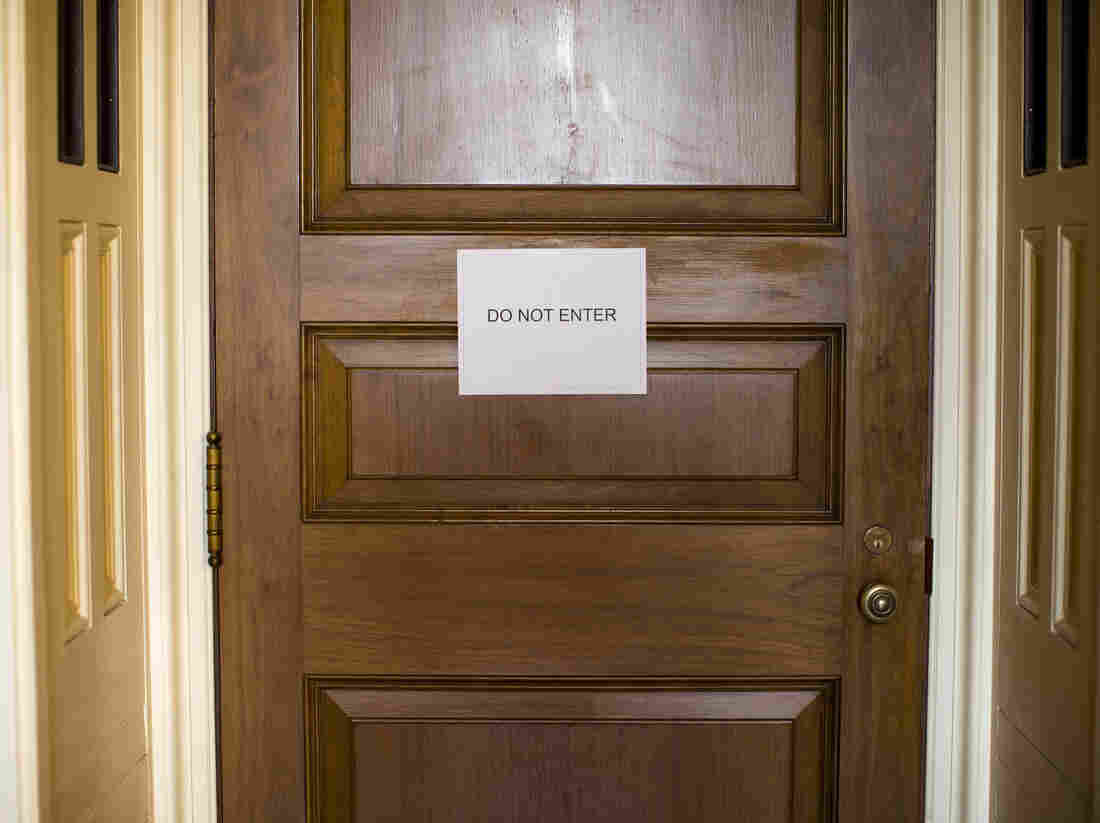 Sign of the times? A room where the Senate Democratic caucus was meeting on Monday.
