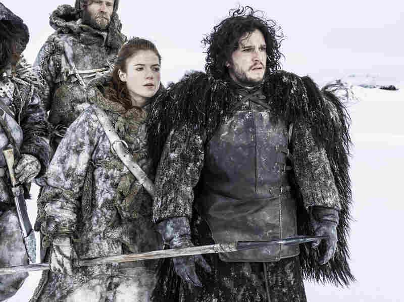 Ygritte (Rose Leslie) and Jon Snow (Kit Harington) in HBO's Game of Thrones. The show's most recent season covered roughly the first half of the third book; Martin has published five of a projected seven novels so far.