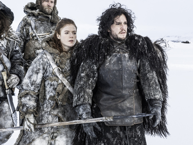 Ygritte (Rose Leslie) and Jon Snow (Kit Harington) in HBO's <em>Game of Thrones</em>. The show's most recent season covered roughly the first half of the third book; Martin has published five of a projected seven novels so far.