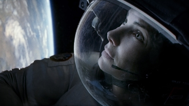 Bullock's mission scientist  is a dubiously confident space traveler even before she's sent reeling toward the abyss by debris from an orbital mishap. (Warner Bros.)
