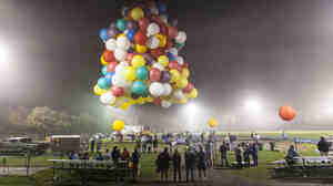 Party On: Legislation passed last week allows the Federal Helium Reserve to continue selling the stockpiled gas. Above, Jonathan Trappe launches his 370-balloon craft from Caribou, Maine, in an attempt to cross the Atlantic Ocean on Sept. 12.