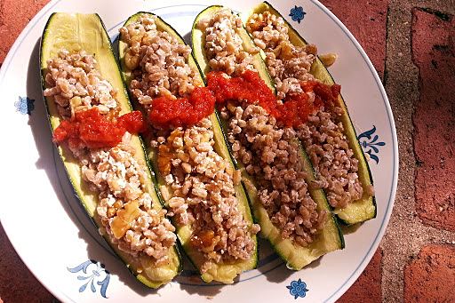 Zucchini with Farro, Goat Cheese and Walnut Stuffing