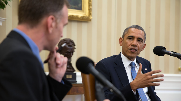 President Obama is interviewed Monday in the Oval Office by Steve Inskeep for NPR's Morning Edition. (The White House)