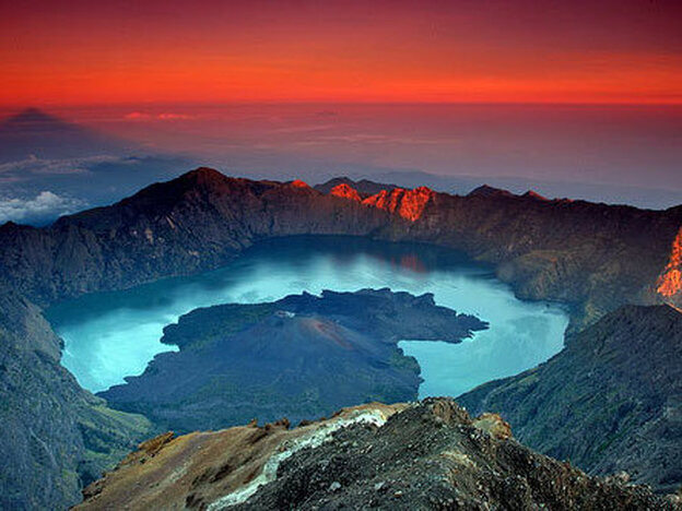 The Samalas volcanic crater at Rinjani National Park on L