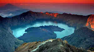 The Samalas volcanic crater at Rinjani National Park on Lombok Island, Indonesia.