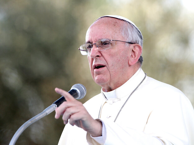 Pope Francis delivers a speech during a meeting with young people last month in Cagliari, Italy.