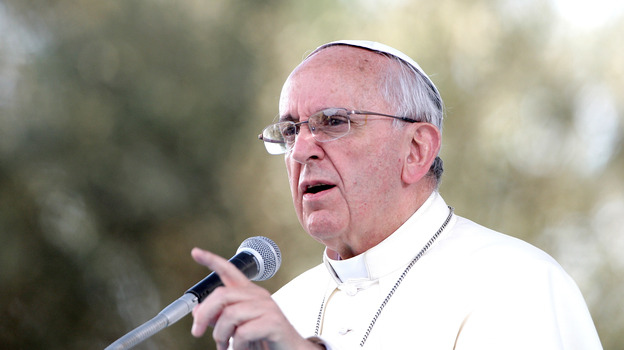 Pope Francis delivers a speech during a meeting with young people last month in Cagliari, Italy. (Getty Images)