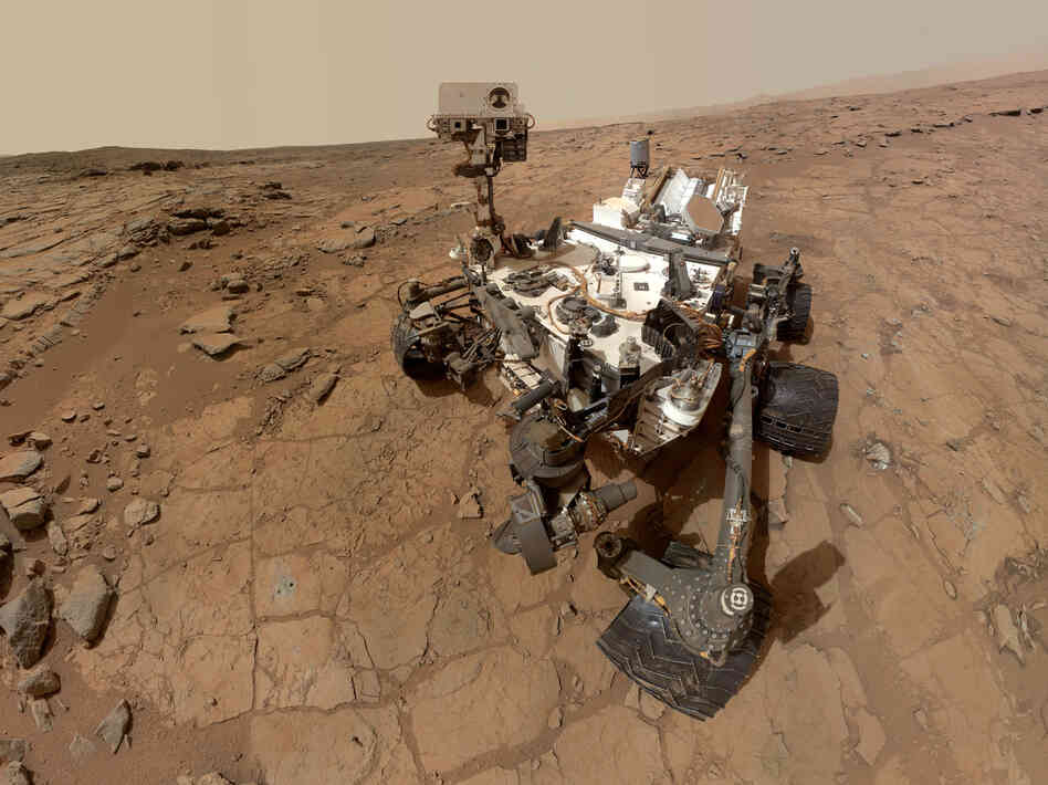 A self-portrait taken by the NASA exploration rover Curiosity in Gale crater on Mars.