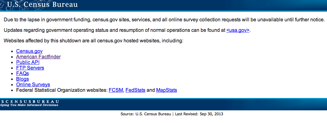 The message users will get when they try to go to Census.gov during the shutdown.