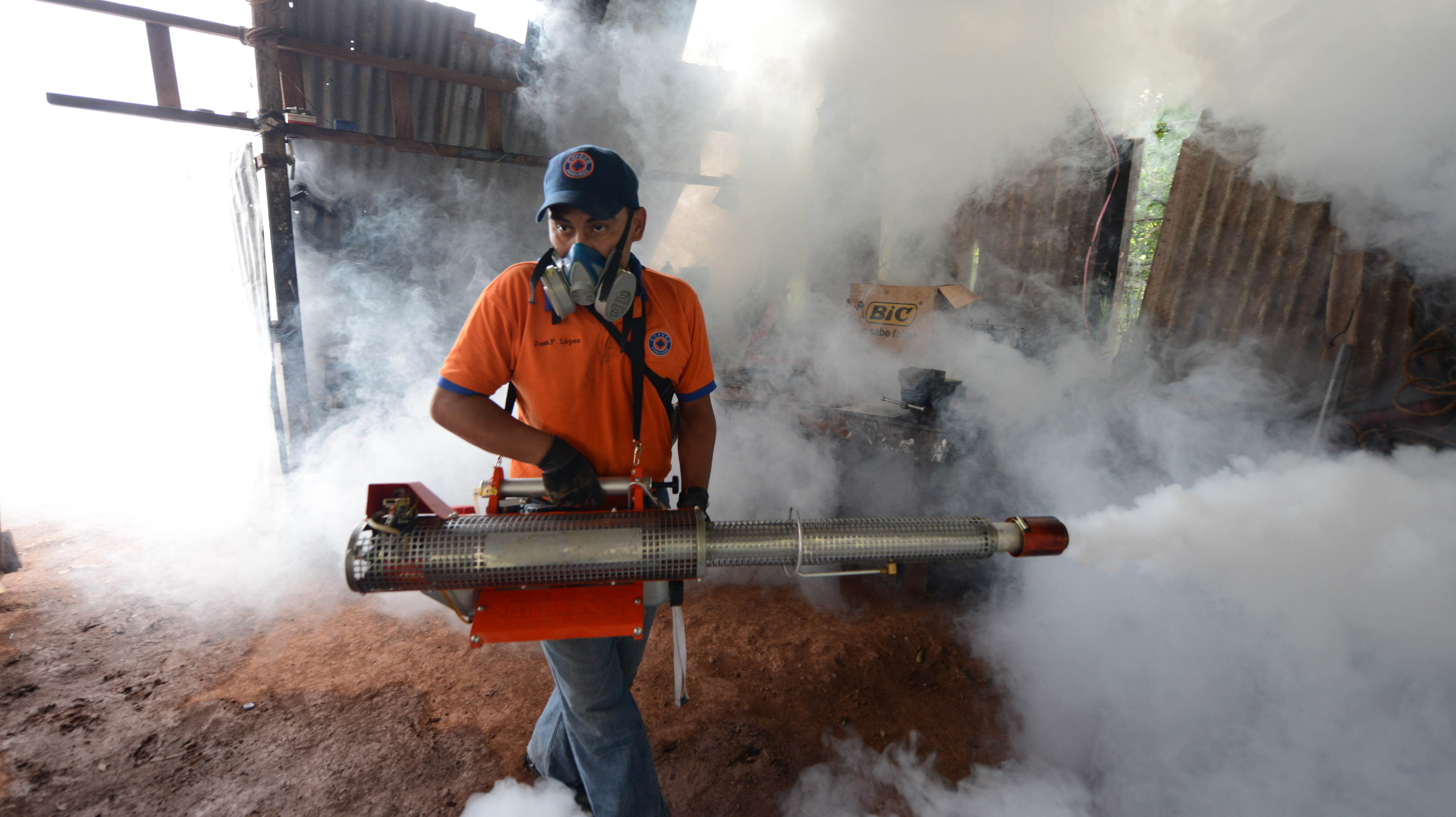 A worker in Tegucigalpa, Honduras, fumigates against the mosquito that transmits dengue fever.