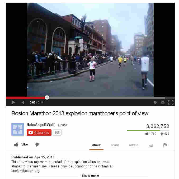A screen shot of the Boston Marathon bombing video that Storyful helped verify.