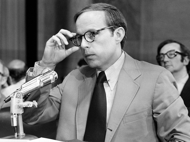 John Dean, President Richard Nixon's White House counsel, appeared before the Senate Watergate Committee in 1973.