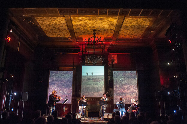 Ethel performs its Documerica program, featuring photos from Environmental Protection Agency archives, and music by composers including Vietnam veteran Kimo Williams, at the Park Avenue Armory in 2012.