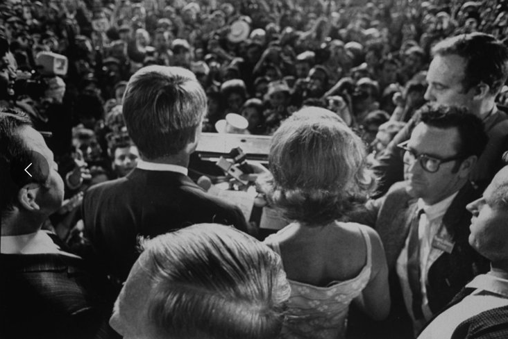 Kennedy gives a victory speech at the Ambassador Hotel in Los Angeles before his assassination, June 1968. He had just won the California presidential primary.