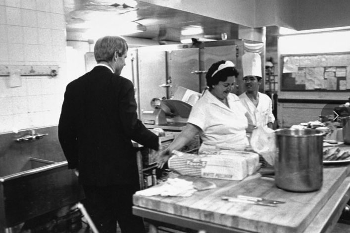 Heading for his victory speech in the Ambassador Hotel ballroom, Kennedy stops in the kitchen to shake hands. A few minutes later the gunman was waiting for him in the corridor just outside the kitchen.