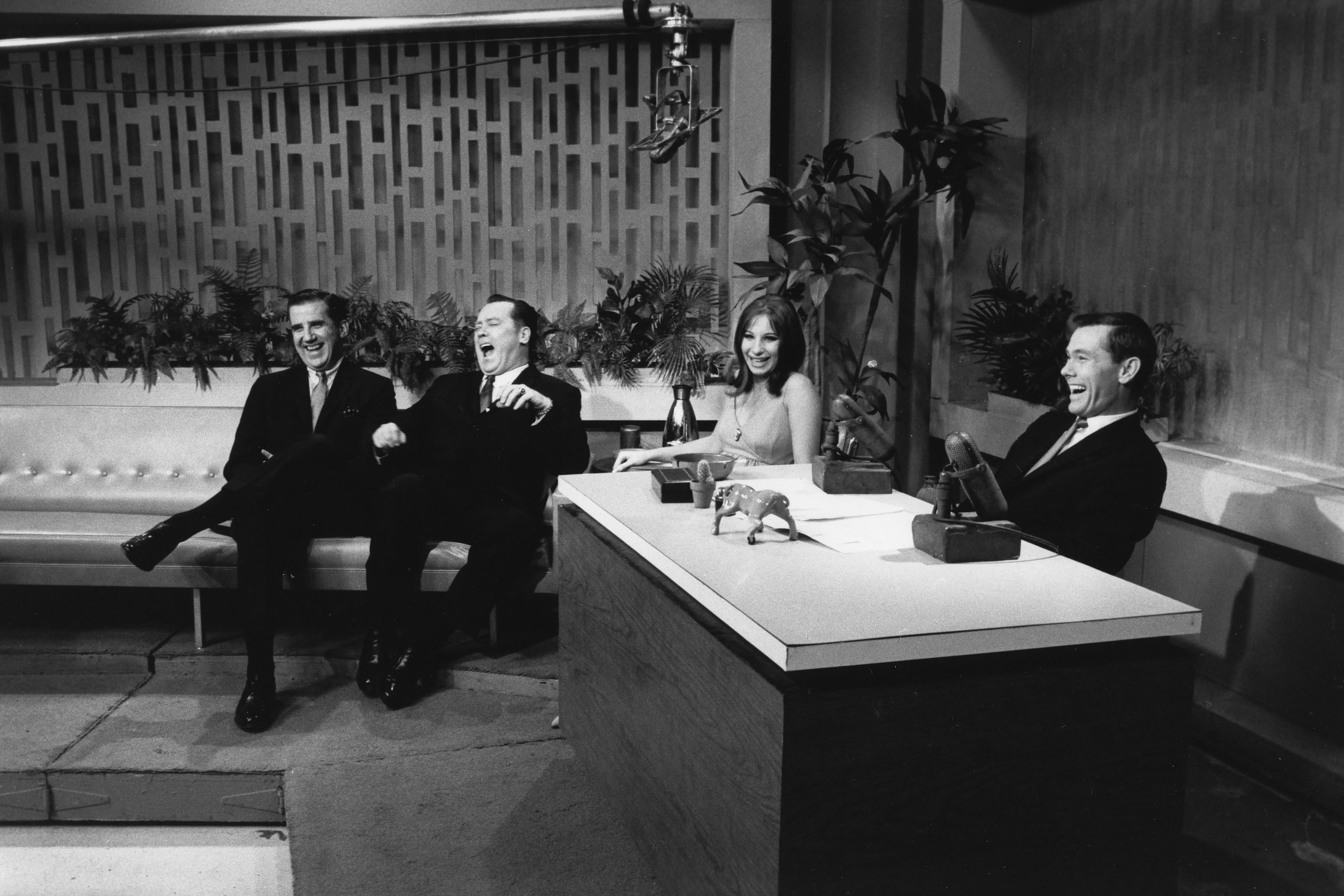 Ed McMahon (from left), an unidentified man, Barbra Streisand and Johnny Carson on The Tonight Show, New York City, 1964.