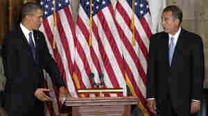 President Obama and House Speaker John Boehner take part in a ceremony to unveil a statue honoring the late civil rights activist Rosa Parks in the Capitol in February.