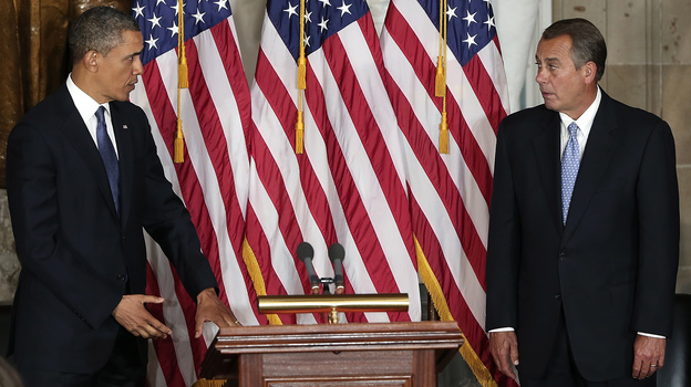 President Obama and House Speaker John Boehner take part in a ceremony to unveil a statue honoring the late civil rights activist Rosa Parks in the Capitol in February. (Getty Images)