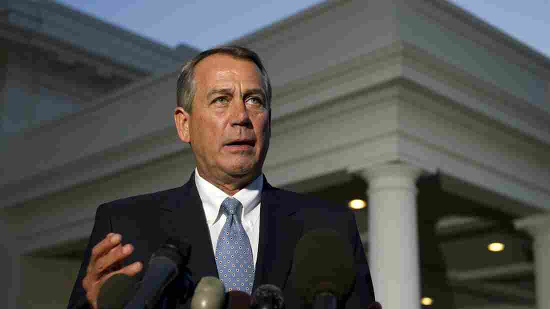 House Speaker John Boehner speaks to the media after a meeting with President Obama at the White House on Wednesday.