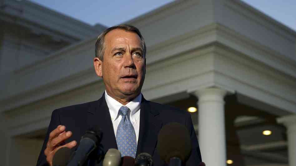 House Speaker John Boehner speaks to the media after a meeting with President Obama at the White House on Wednesday
