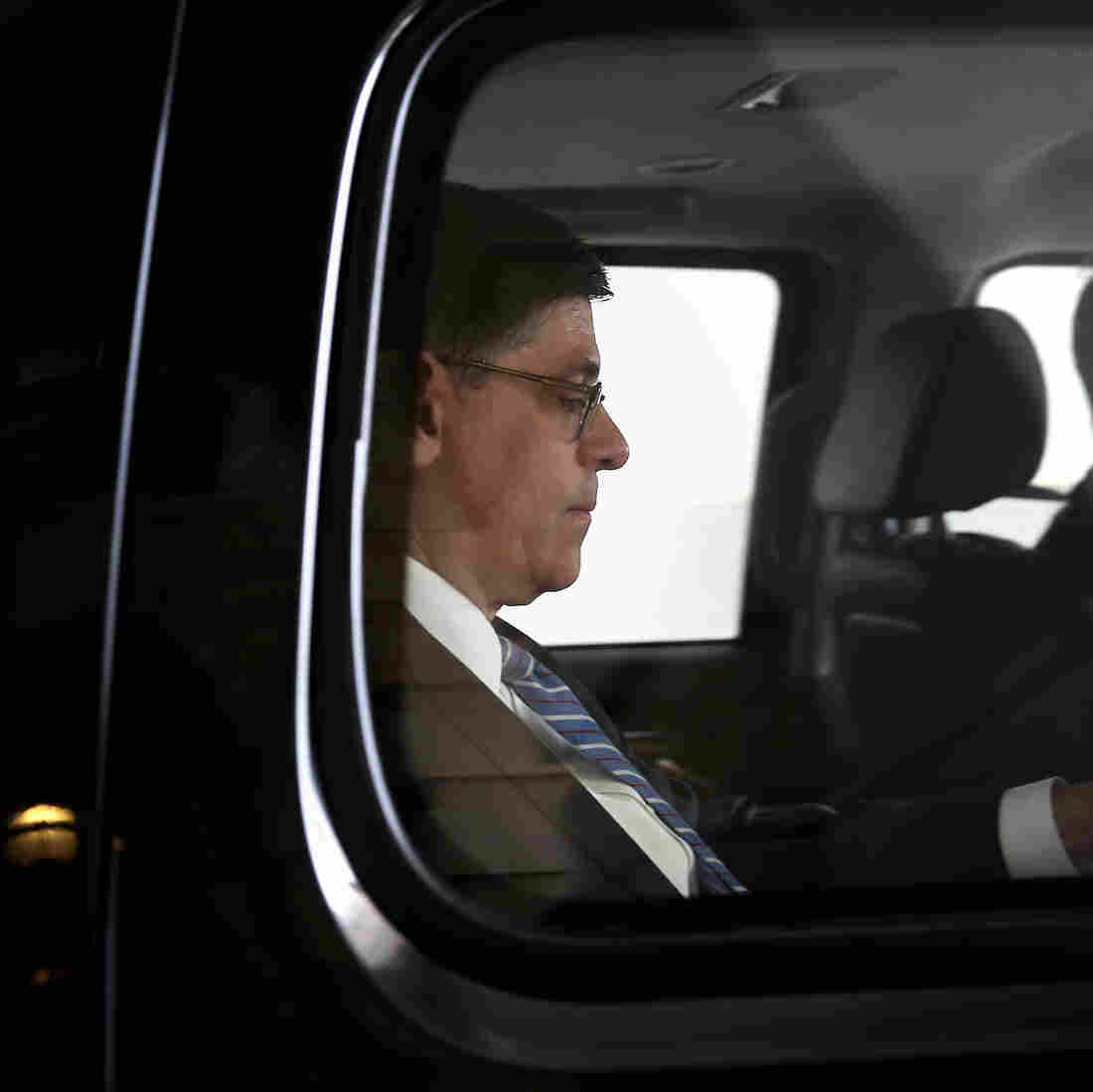 Treasury Secretary Jacob Lew leaves the Capitol after a visit on Thursday.