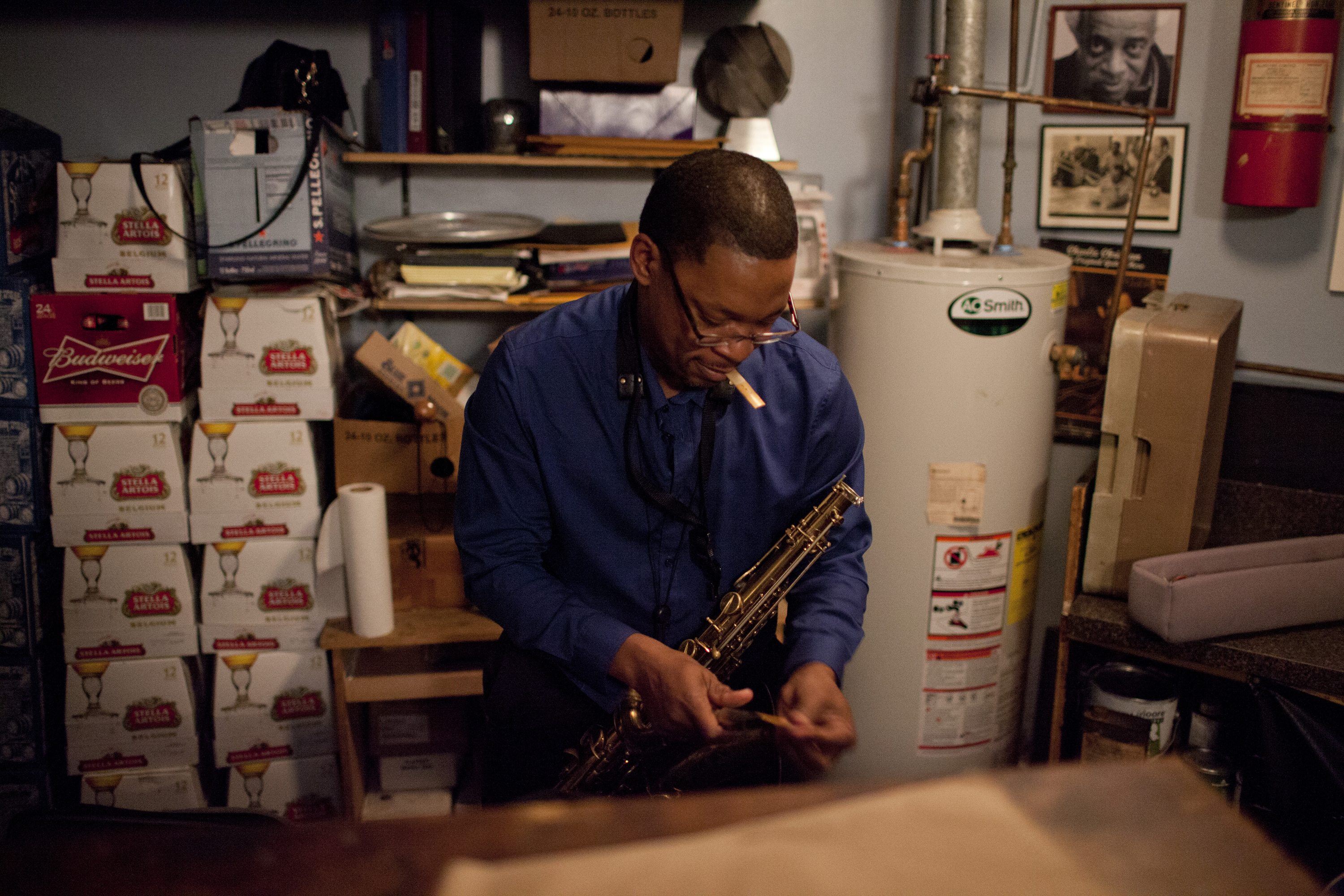 Ravi Coltrane backstage.