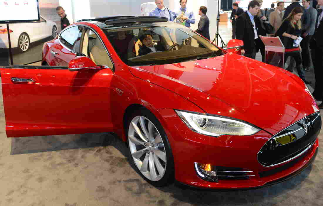 A Tesla Model S at the 2013 North American International Auto Show in Detroit on Jan. 15.