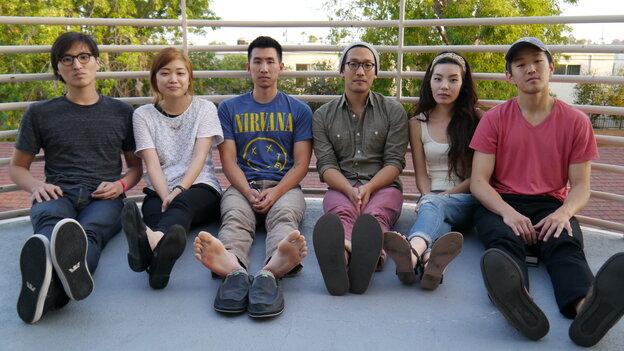 John Chong (from left), Sally Kang, Joe Chun, Alex Hwang, Jennifer Rim and Daniel Chae of Run River North.