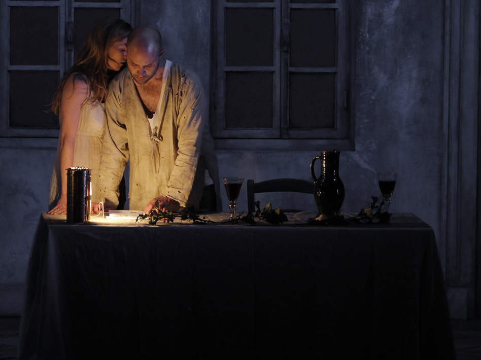 Barbara Hannigan and Bejun Mehta in the Festival at Aix production of <em>Written on Skin</em>.