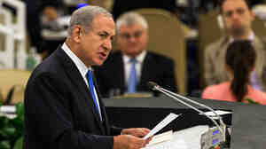 Israeli Prime Minister Benjamin Netanyahu speaks during the United Nations General Assembly on Tuesday in New York City.