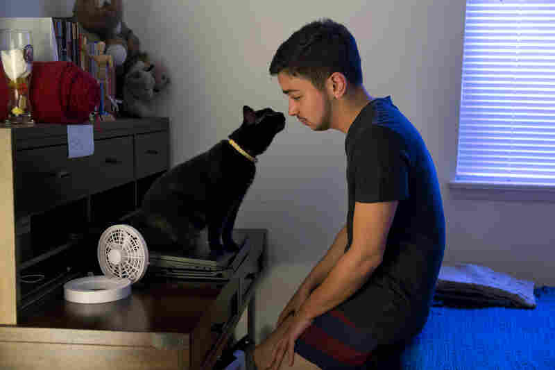 """Younes relaxes in the morning with one of his cats, Beans, at home. He shares an apartment with a roommate, Angelica Martinez. As a Lebanese and Puerto Rican transgender man, Younes has yet to find somebody like himself. He has attempted to form social groups for trans men of color but they never successfully materialized. """"I do feel a bit alone,"""" Younes said."""