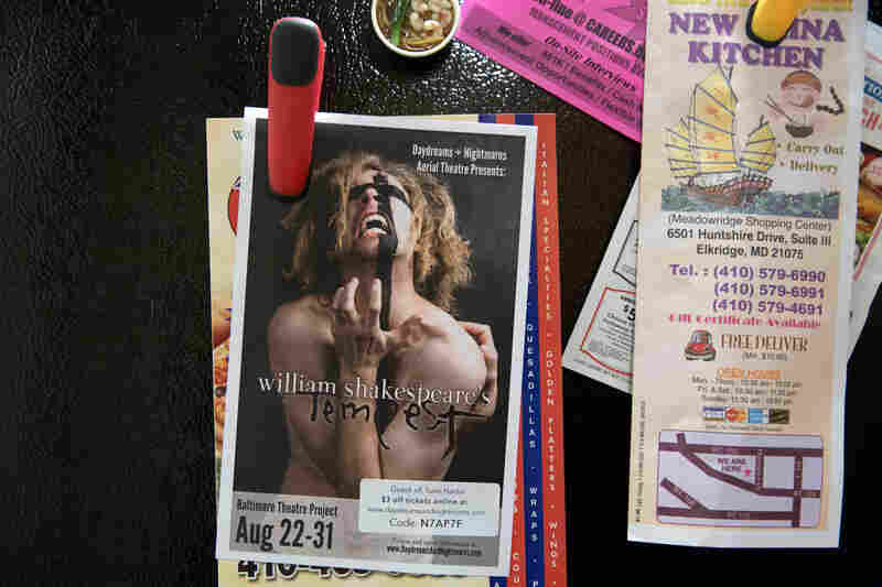 A flier for a production of The Tempest hangs on Younes' refrigerator. He will play the part of Alonso with the DNA Theatre in Baltimore. After his transition, theater became a big part of Younes' life, a way for him to express himself and socialize with other people.