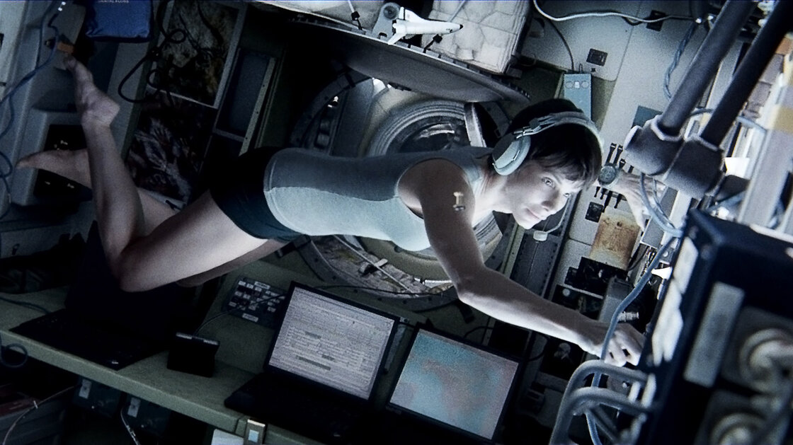Many of the special effects in the action-adventure film Gravity were generated by computers — but star Sandra Bullock also had to put in a good deal of work, with choreographed movements simulating weightlessness.