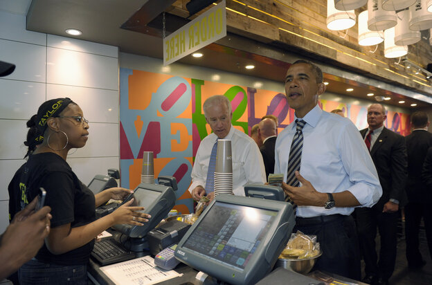 President Obama and Vice President Biden at Taylor Gourmet sandwich shop near the White House on Friday.