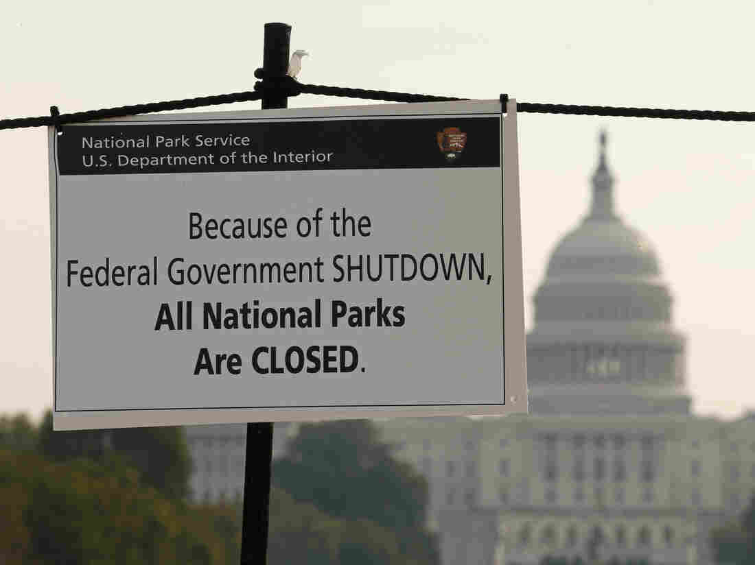 The U.S. Capitol looms in the background as a sign on the National Mall reminds visitors that national parks are closed because of the partial federal government shutdown.