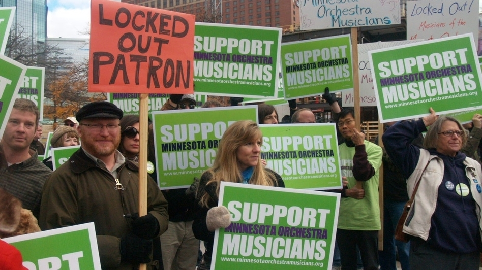 In Minneapolis, demonstrations in support of musicians have drawn regular support during the yearlong Minnesota Orchestra labor dispute. (Minnesota Public Radio)