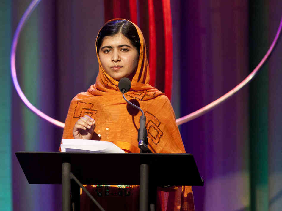 Malala Yousafzai speaks after receiving the leadership in civil society award at the annual Clinton Global Initiative award ceremony in New York last month.