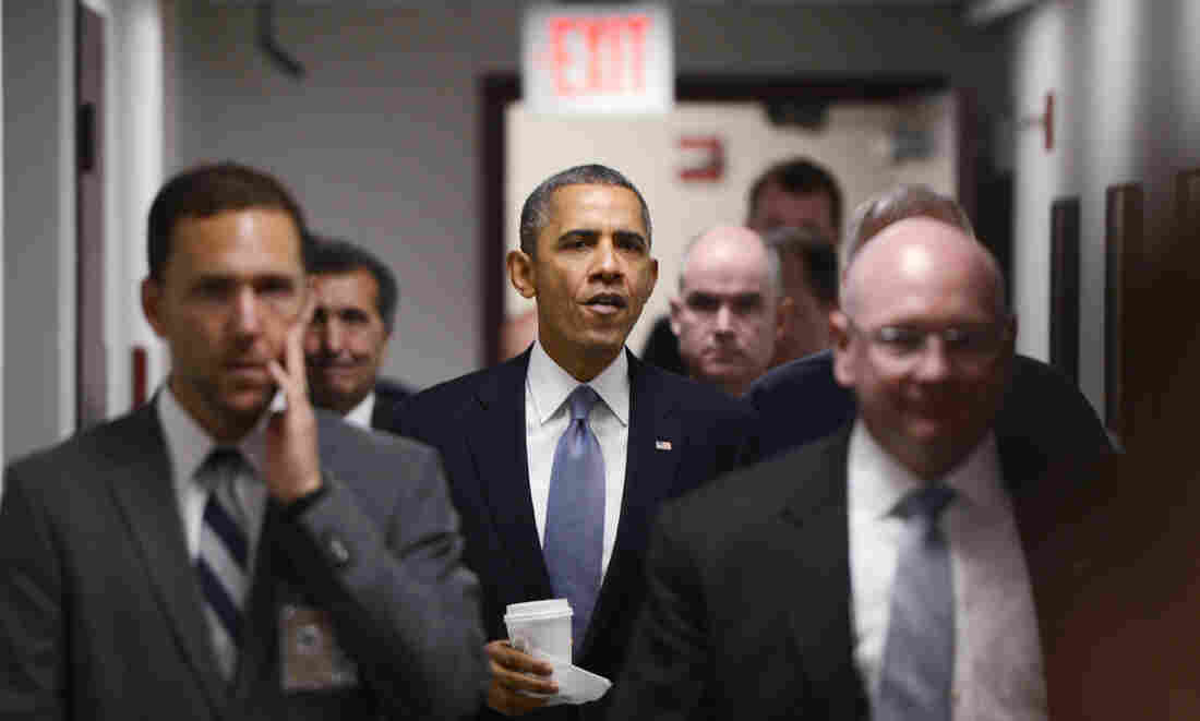 President Obama arrives to speak about the government shutdown at the Federal Emergency Management Agency's National Response Coordination Center on Monday.