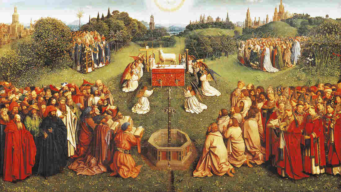 Detail of the central compartment of The Adoration of the Mystic Lamb, completed in 1432 by Jan van Eyck, where pilgrims gather to pay homage to the lamb of God. Many art historians interpret the painting's fountain as a symbol of eternal life.