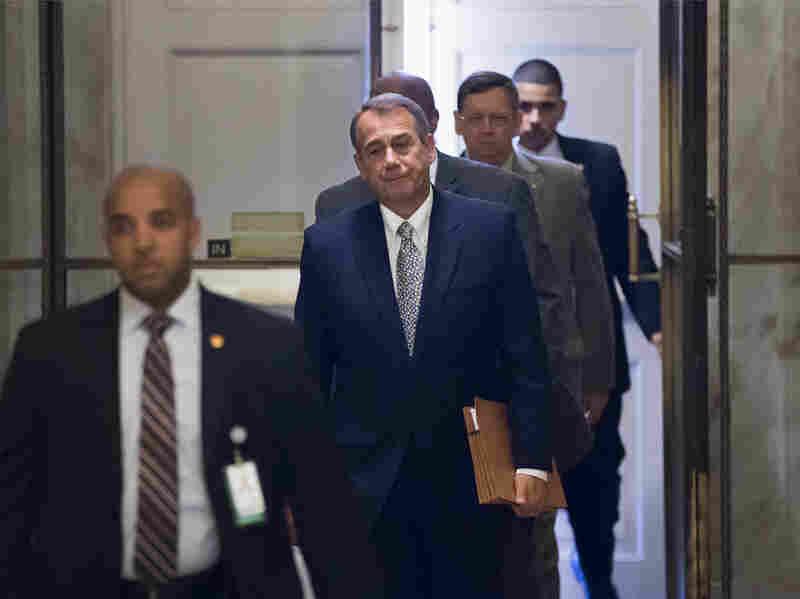 House Speaker John Boehner of Ohio arrives on Capitol Hill on Monday.