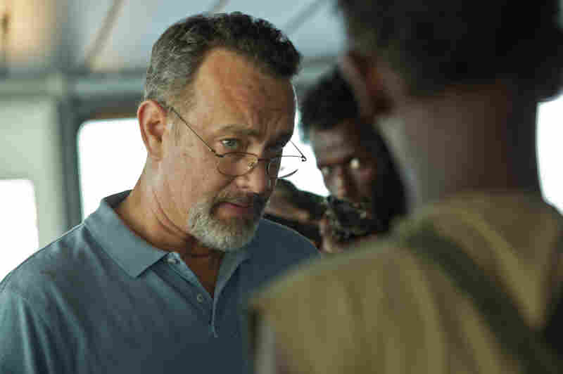 """Prior to filming, director Paul Greengrass kept the pirate crew and the boat crew separate to make the hijacking scenes feel more authentic. """"The hair did stand up on the back of our heads,"""" says Tom Hanks, above."""