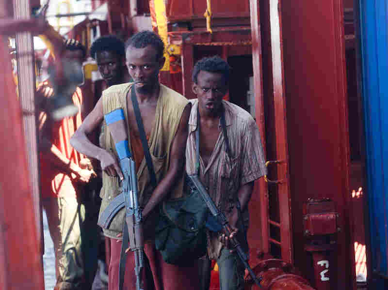 Newcomer Barkhad Abdi (middle) plays Muse, who leads fellow pirates Bilal (Barkhad Abdirahman, right), Elmi (Mahat Ali, left) and Najee in the hijacking.