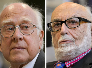 British theoretical physicist Peter Higgs (left) and Belgian theoretical physicist Francois Englert were awarded the Nobel Priz