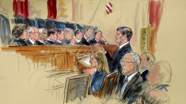This artist rendering shows Senate Minority Leader Mitch McConnell, R-Ky., seated (center) as attorney Bobby Burchfield argues during the Supreme Court's hearing on campaign finance Tuesday. (AP)