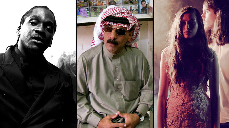 Meet our lineup for the next NPR Music Presents webcast: Pusha T, Omar Souleyman and Cults. (Courtesy of the artists)