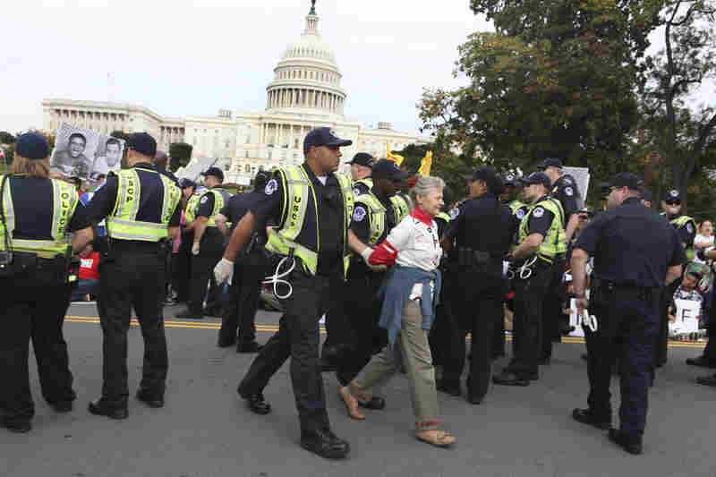 A woman is arrested in a show of civil disobedience during the rally.