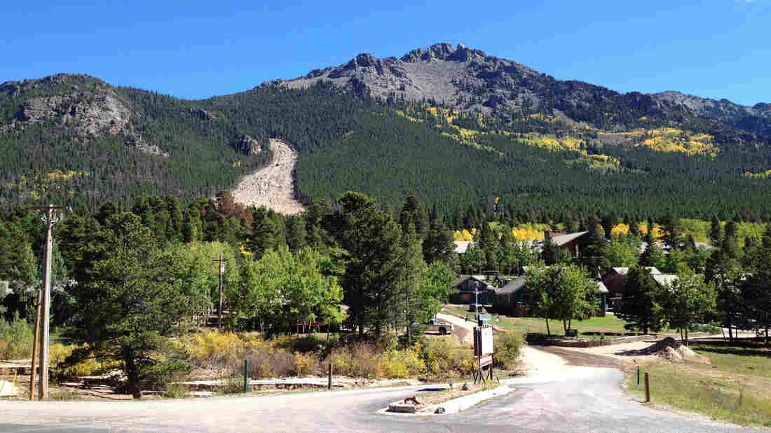 A massive landslide, left, in the Rockies, sent mud, rocks, boulders and trees barreling down the slopes.