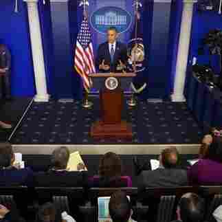 At a Tuesday news conference, President Obama underscored Democrats' refusal to negotiate with Republicans on bills to reopen the government and raise the debt ceiling.