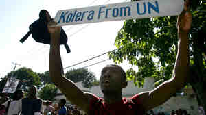 Haitians protest against United Nations peacekeepers in Port-au-Prince in 2010.
