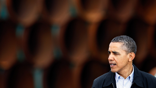 President Obama speaks at the southern site of the Keystone XL pipeline in Cushing, Okla., in March 2012. (Getty Images)